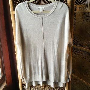 H&M Lightweight Cream Sweater Side Slits Crew Med